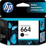 CARTUCHO DE TINTA HP 664 PRETO F6V29AB F6V29A   1115 4536 2136 3636 3836 3635 4676   ORIGINAL 2ML