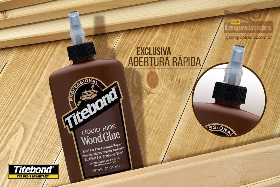 Cola para Madeira Titebond Liquid Hide Wood Glue - 237ml