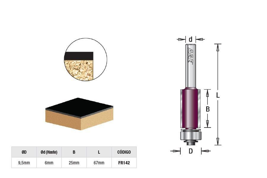 Fresa para Reta/Paralela com Rolamento Inferior 9,5mm x 25mm  Amana Tool - [FR142]