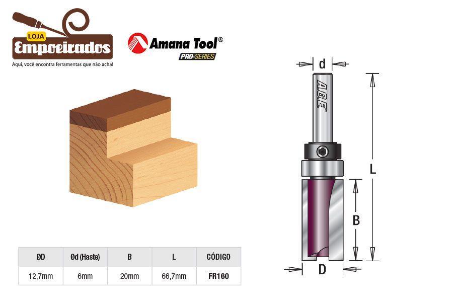 Fresa AGE™ Pro-Series Amana Tool - Reta/Paralela com Rolamento Superior 12,7 x 20mm [FR160]