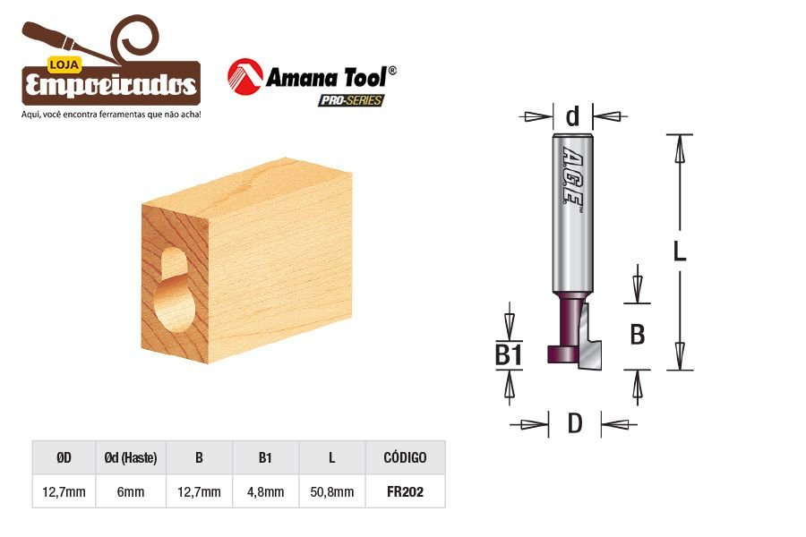 Fresa AGE™ Pro-Series Amana Tool - Key Hole / T 12,7mm tipo Trilho T-Track [FR202]