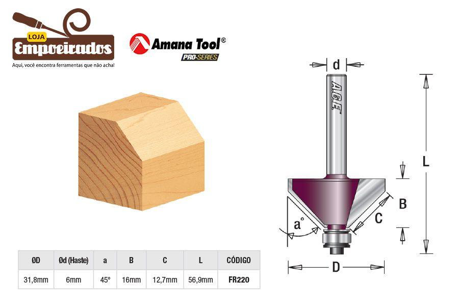 Fresa AGE™ Pro-Series Amana Tool - Chanfrar com Rolamento - 45° [FR220]