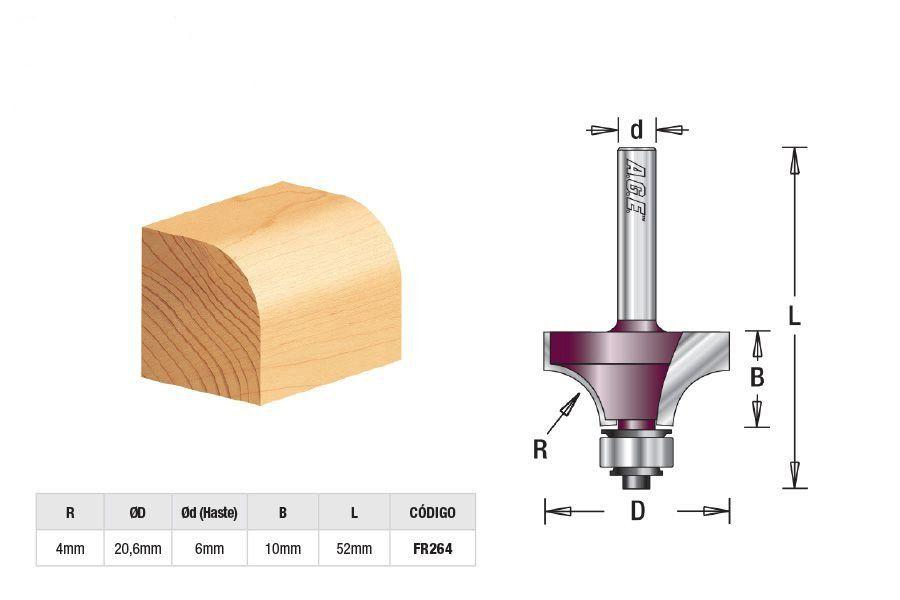 Fresa para Arredondar com Rolamento - R-4mm Amana Tool - [FR264]