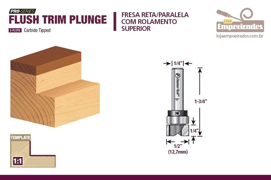 """Fresa AGE™ Pro-Series Amana Tool - Reta/Paralela com Rolamento Superior 1/2"""" - 1/4"""" [MD182]"""