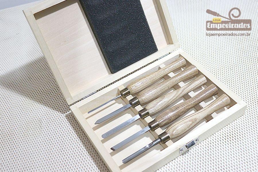 Conjunto de Goivas Proxxon para micro-torno - 5 peças em estojo de madeira