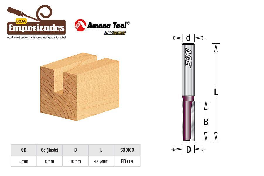 Fresa AGE™ Pro-Series Amana Tool - Reta/Paralela 2 Cortes - 8mm [FR114]