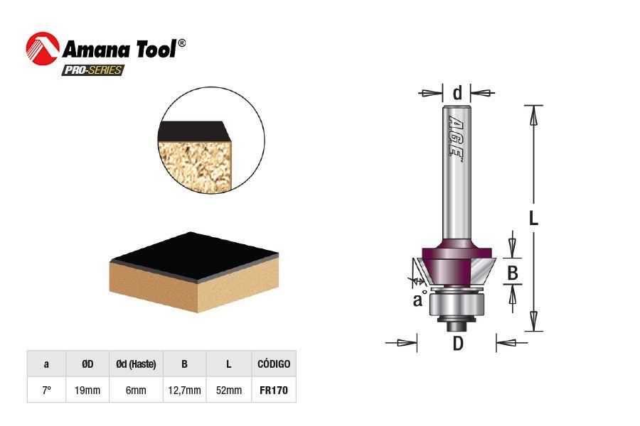 Fresa AGE™ Pro-Series Amana Tool - Para Laminados 7º com Rolamento Inferior [FR170]