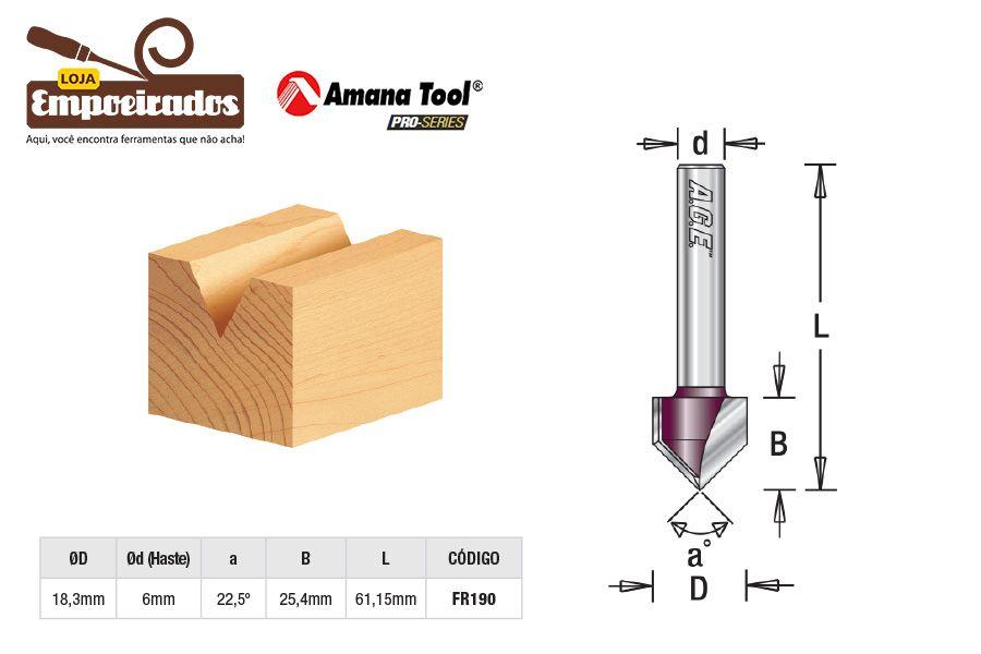 Fresa AGE™ Pro-Series Amana Tool - VGrove 45º 18,3 x 25,4mm [FR190]
