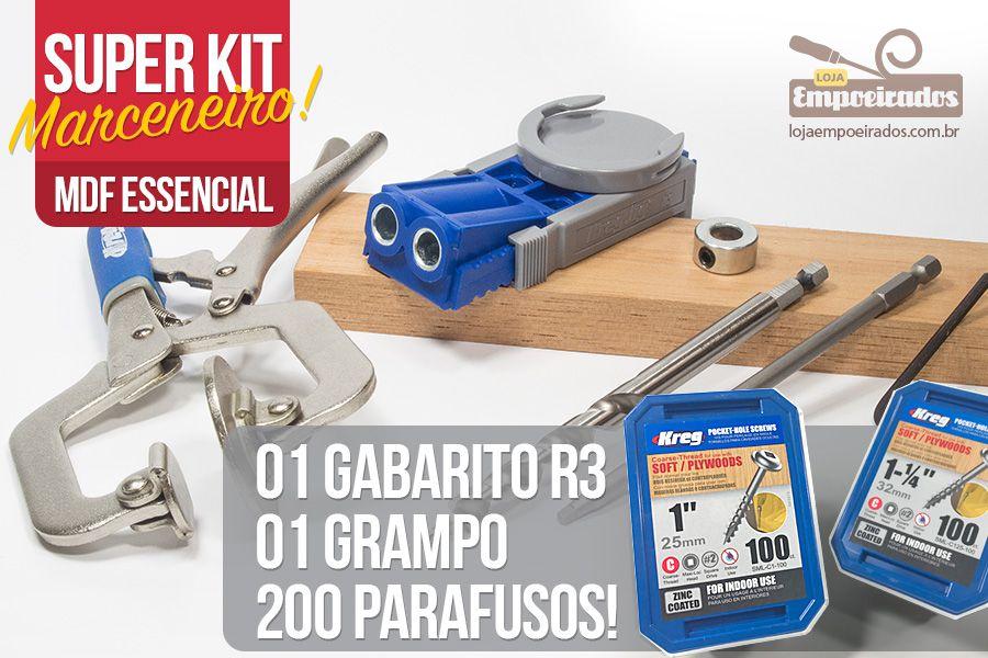 Kit Marceneiro MDF Essencial: Kreg Jig R3 + Grampo GRÁTIS + 200 Parafusos para MDF 15 e 18mm