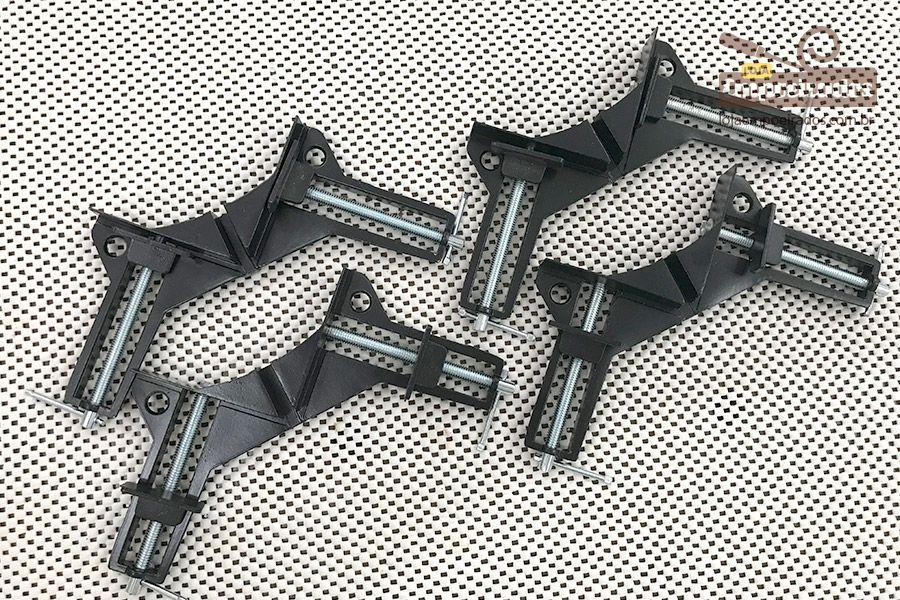 Gabarito (Jig) e Grampo Sargento 90 graus para fixação e quadros - Alumínio - 4 unidades [Sparta]