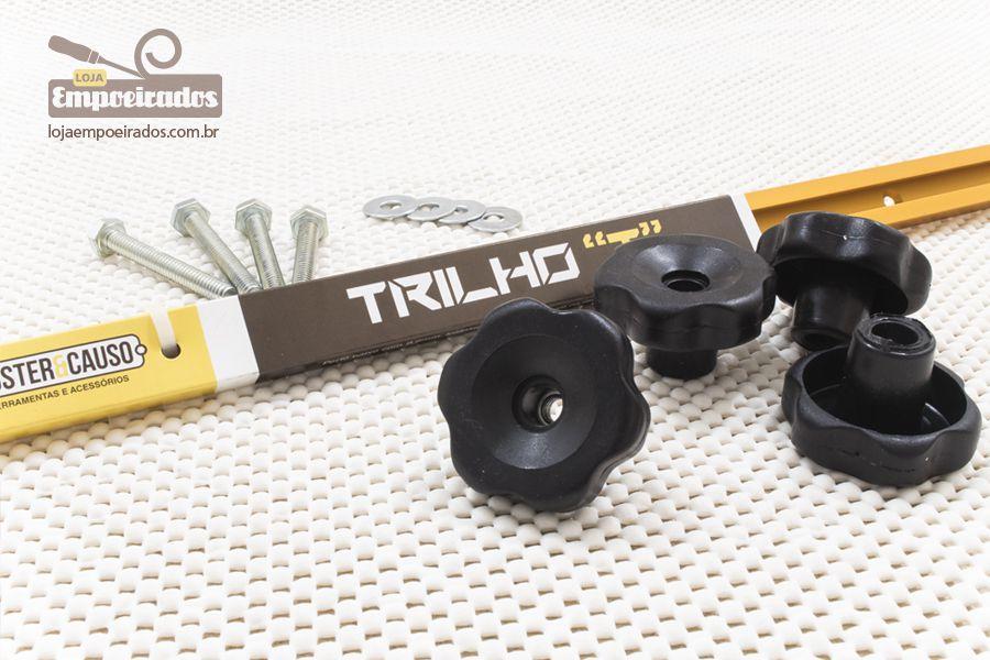 01 Trilho T-Track em Alumínio Soster & Causo 1 metro com 4 manípulos