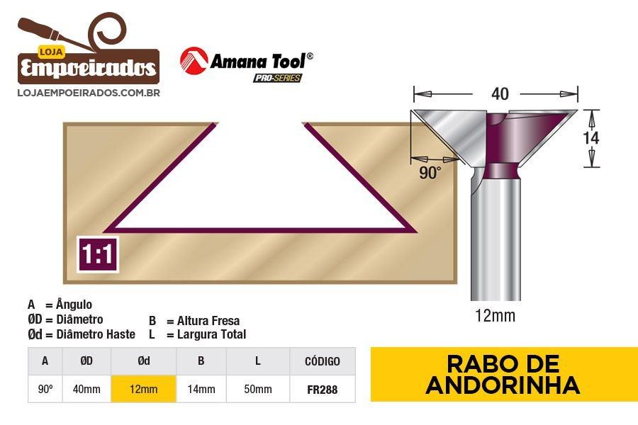 Fresa Rabo de Andorinha Dovetail 90° Haste 12mm AGE™ Pro-Series Amana Tool [FR288]