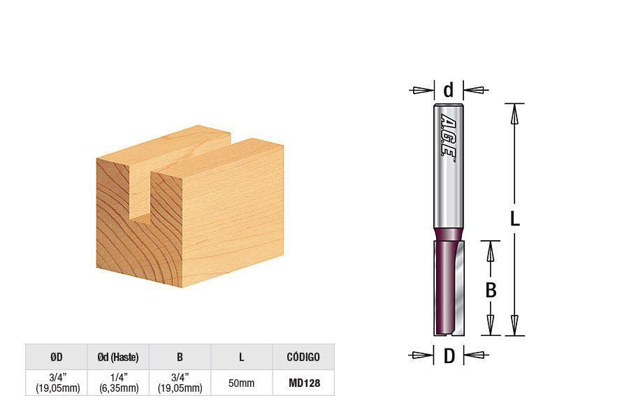 "Fresa Reta/Paralela 3/4"" (19mm) para T-Track - Amana Tool [MD128]"