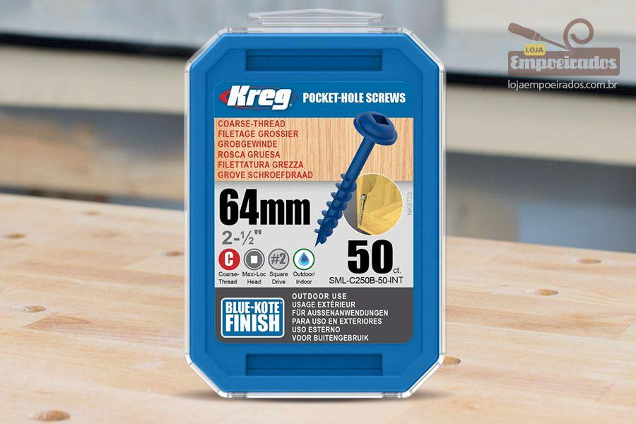 """Parafuso Kreg Jig 2-1/2"""" - 64mm [SML-C250B-50] Interior/Exterior"""