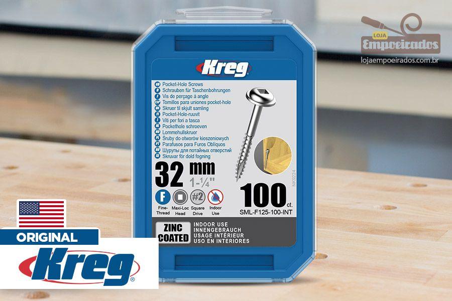 """Parafuso Kreg Jig Rosca Fina 1-1/4"""" - 32mm [SML-F125-100]"""