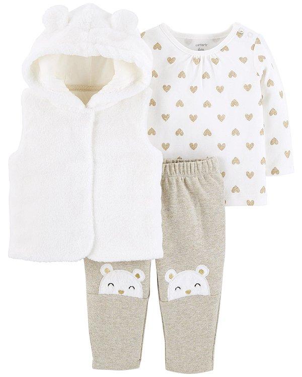 D5- Conjunto 3 peças - blusa, body e calça-Carter's