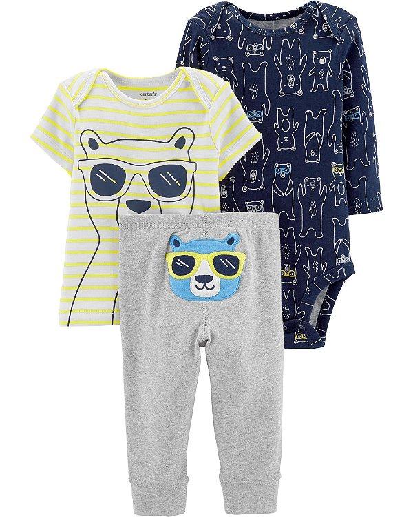 D3- Conjunto 3 peças - Body, Camiseta e Calça-Carter's