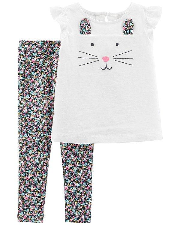 D6- Conjunto 2 peças - camiseta e legging-Carter's