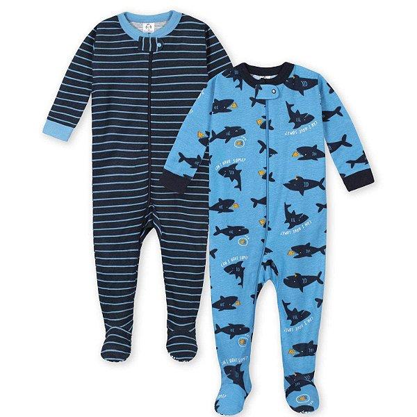 C1- Kit 2 Pijamas Macacões tubarão zíper