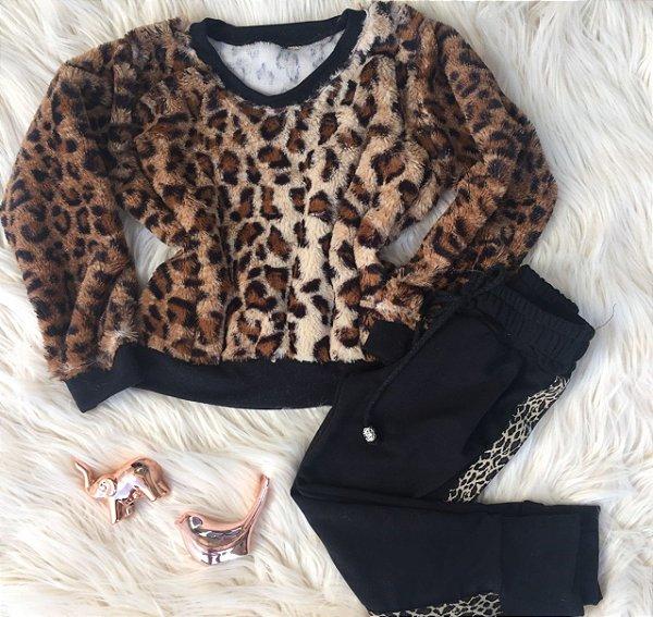 Blusa de pêlo oncinha + calça Mãe e Filha