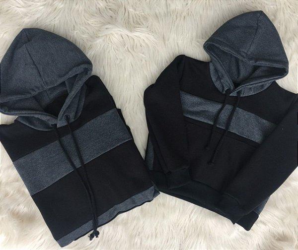 Blusas de moletom Pai e Filho cinza com preto