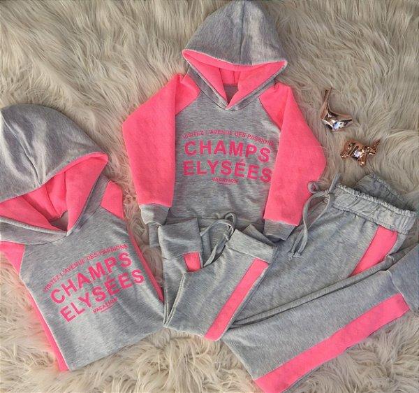 Blusa e calça Champs cinza com rosa Mãe e Filha