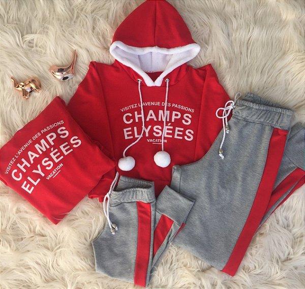 Blusa e calça Champs vermelho Mãe e Filha