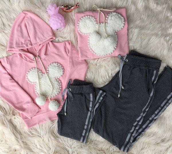 Conjunto Blusa e calça Mickey Rosa Mãe e Filha