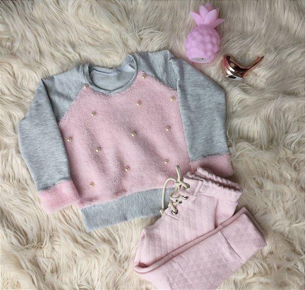 Conjunto Blusa de Pêlo com calça Matelasse mãe e filha