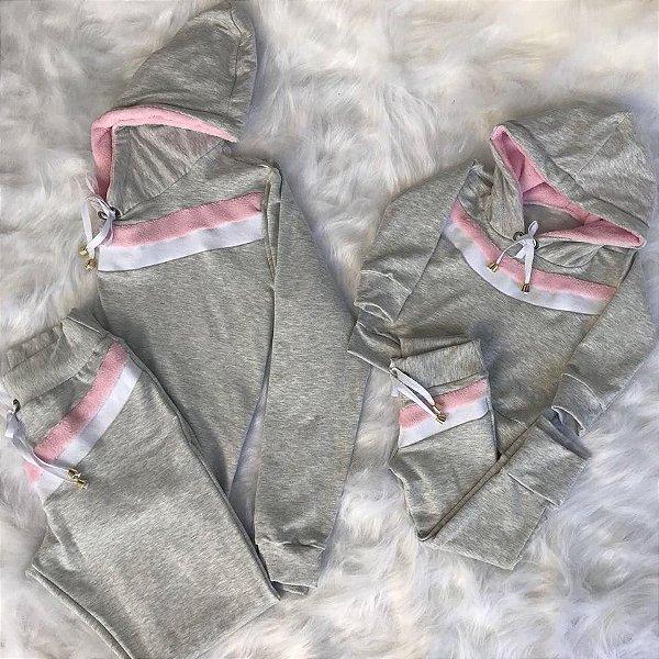 Conjunto cinza com faixas rosa e branca mãe e filha