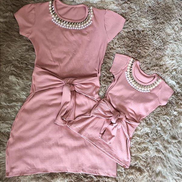 Vestido Rosê com laço Mãe e filha