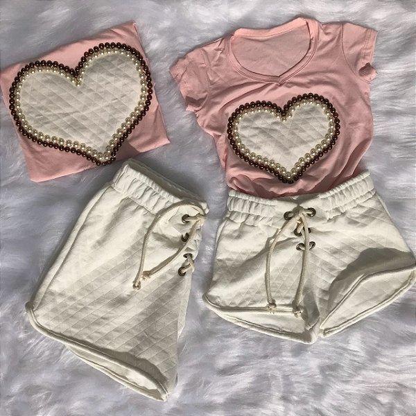 Conjunto T shirt Rosa com Shorts Matelasse Off mãe e filha