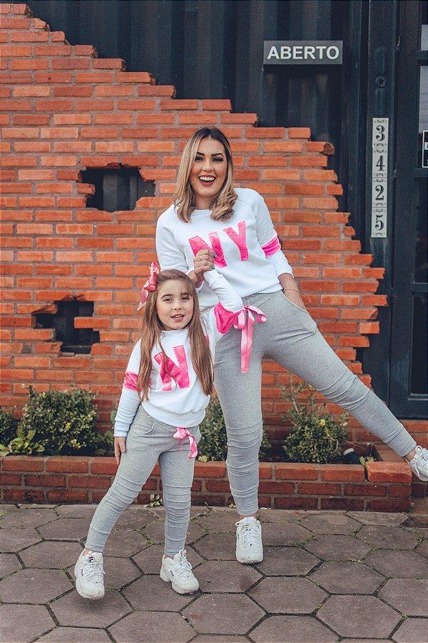 Conjunto Moletom NY Blusa Branca e Calça CInza Mãe e Filha