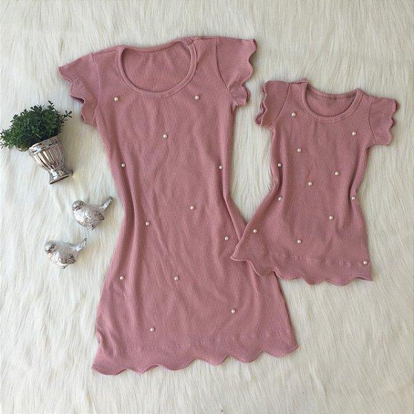 Vestido Rosê Nuvem Mãe e Filha
