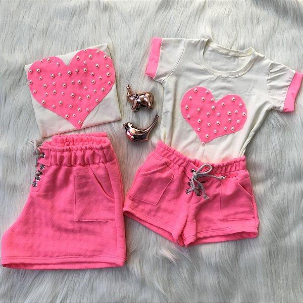 T shirt e shorts Neon Rosa Mãe e Filha