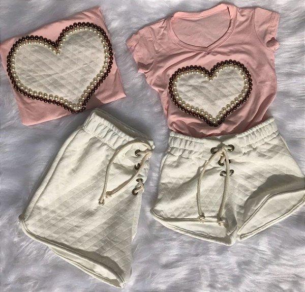 T shirt Rosa e shorts Matelasse Off Mãe e Filha
