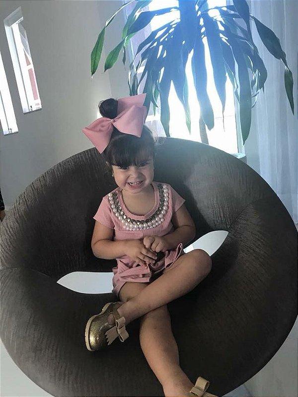 Vestido Infantil Canelado Rosa