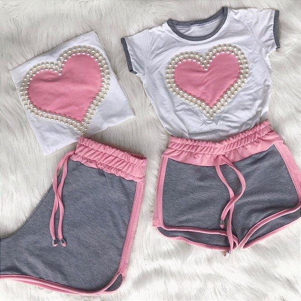 Conjunto coração rosa bordado mãe e filha
