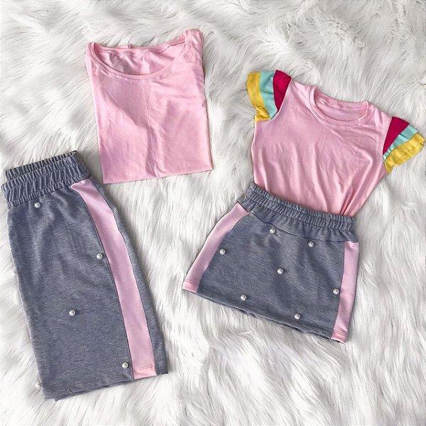 Camiseta manga colorida com saia mãe e filha
