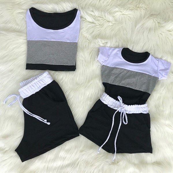 Conjunto 3 cores cinza mãe e filha