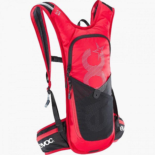 Mochila Evoc CC Race 3L + Bolsa Hidratação 2L Vermelha