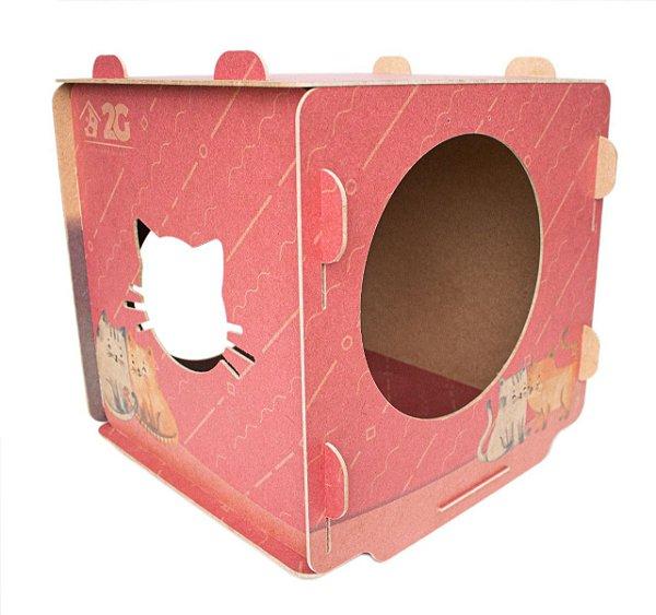 Toquinha em Cubo de MDF para Gatos - Red Love