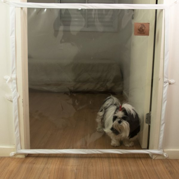Dog Door Mabuu – Tela de Proteção para Portas - 110 cm x 90 cm - Branco