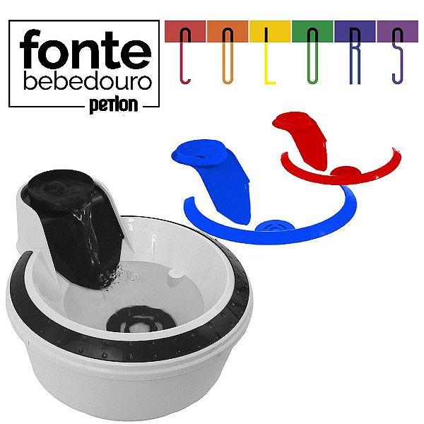 Fonte Bebedouro Petlon Colors - Preto, Azul e Vermelho - 110V