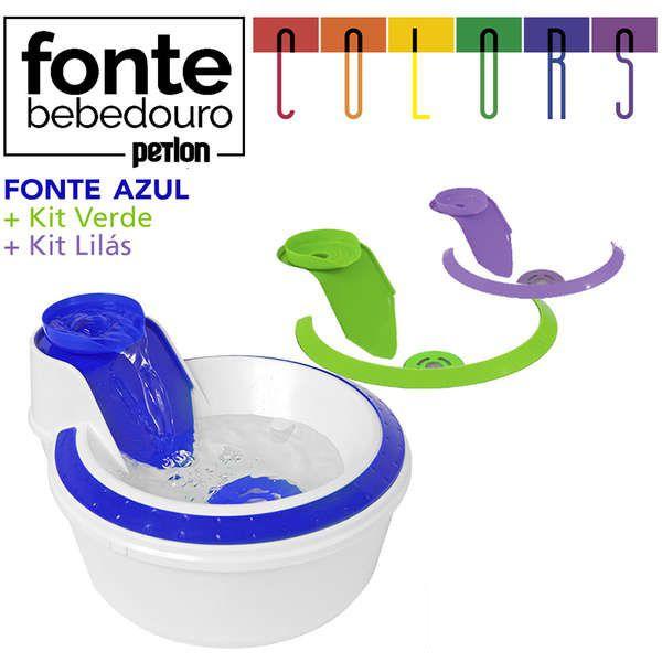 Fonte Bebedouro Petlon Colors - Azul, Lilás e Verde - 110V