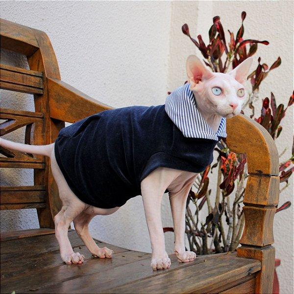 Roupa para Gatos Hoddie Cat - Azul - G