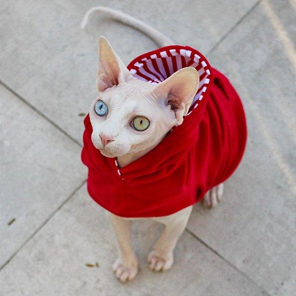 Roupa para Gatos Hoddie Cat - Vermelho - P