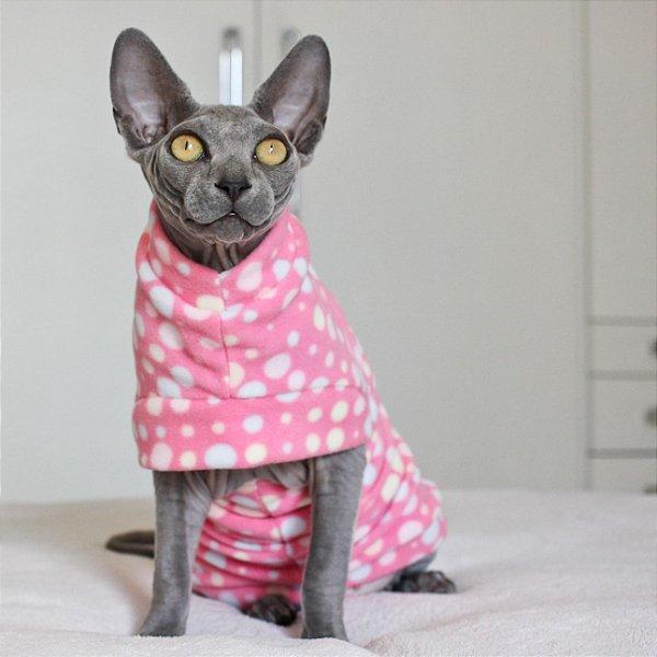 Roupinha para Gato Basic Soft - Bolinha Rosa - M