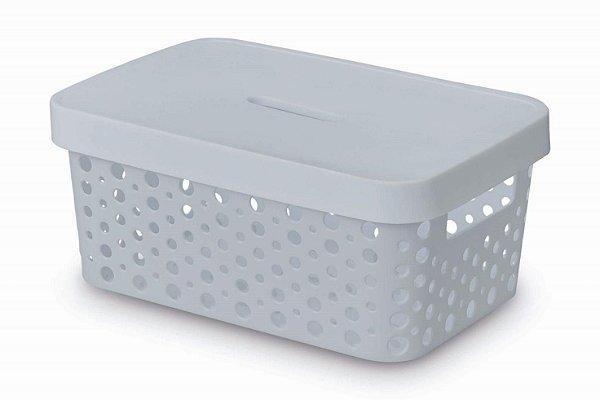 Caixa Organizadora rattan 4,5L com tampa branco