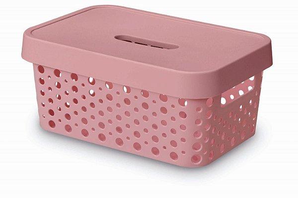 Caixa Organizadora rattan 4,5L com tampa rosa